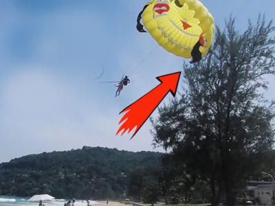 "Tourists ""landed"" on a tree after falling with a parasail near Sozopol"